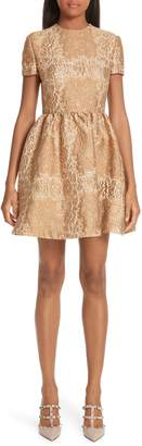 Valentino Floral Metallic Brocade Dress
