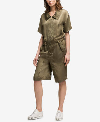 DKNY (ディー ケー エヌワイ) - Dkny Hammered Satin Short Jumpsuit, Created for Macy's