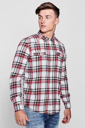 boohoo Double Pocket Stone Check Long Sleeve Shirt