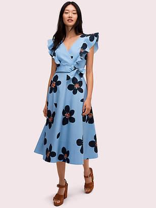 Kate Spade Grand Flora Poplin Midi Dress, Blue Heron - Size 0