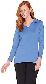 Nobrand NO BRAND Susan Graver Rayon Nylon Split Neck Sweater w/Button Trim