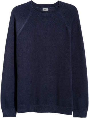 H&M Knit Pima Cotton Sweater - Blue