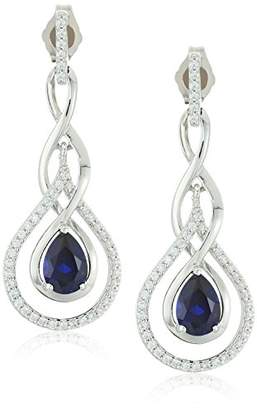 Sterling Silver Pear Shape Lab Created Sapphire and Cubic Zirconia Dangle Earrings
