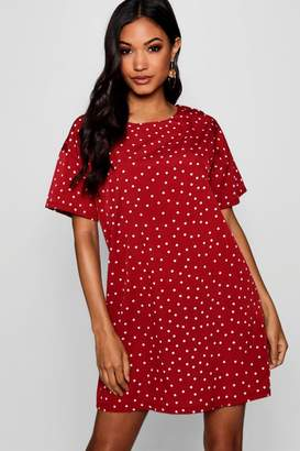boohoo Mini Polka Dot Short Sleeved Shift Dress