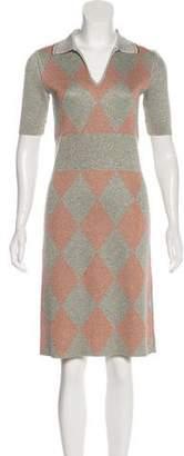 Prada Metallic Collared Dress