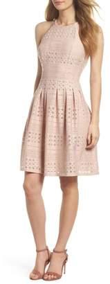 Eliza J Laser Cut Fit & Flare Halter Dress