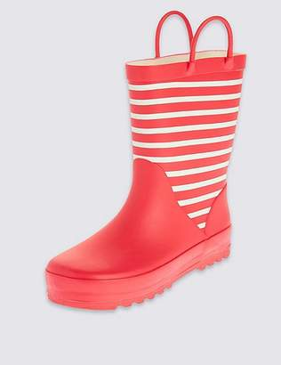 Marks and Spencer Kids' Reflective Striped Wellies (5 Small - 12 Small)