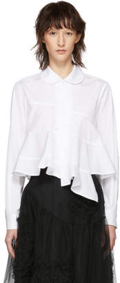 Comme des Garcons White Rounded Collar Ruffle Spiral Shirt