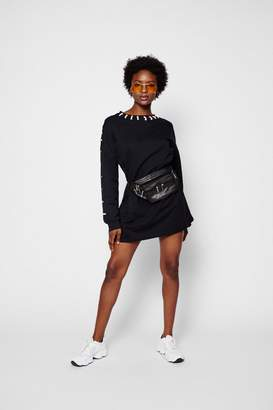 boohoo Contrast Lace Up Eyelet Sweat Dress