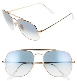 Men's Ray-Ban 57Mm Navigator Sunglasses - Gold/ Blue $175 thestylecure.com