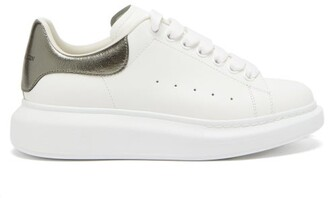 Alexander McQueen Raised Sole Low Top Leather Trainers - Womens - White Silver