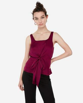 Express Satin Square Neck Tie Front Cami