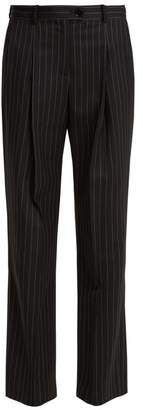 ALEXACHUNG Oversized Pinstriped Wool Blend Tailored Trousers - Womens - Black