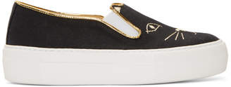 Charlotte Olympia Black Linen Cool Cats Sneakers
