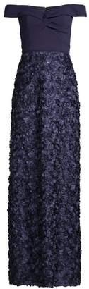 Aidan Mattox Off-The-Shoulder Ribbon Textured Gown