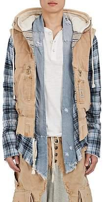 Greg Lauren Men's Hooded Canvas Puffer Vest