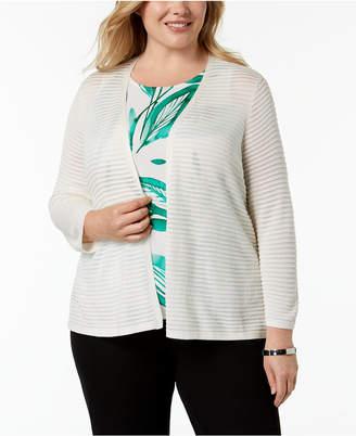Alfani Plus Size Ribbed-Knit Cardigan, Created for Macy's