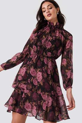 Na Kd Boho High Frill Neck Dress Black/Mixed Flowers