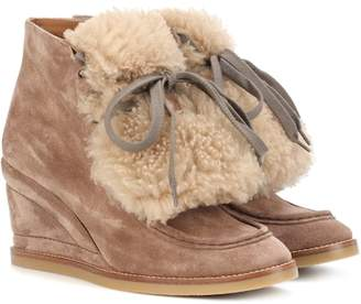 Chloé Shearling-trimmed suede ankle boots