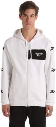Hooded Zip-Up Cotton Blend Sweatshirt