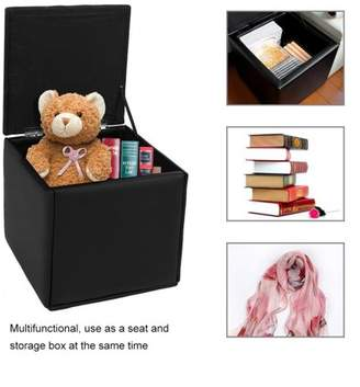 Sunrain Durable Folding Clothes Book Storage Box Benches Seat Foot Stool Seat Stotage Chair