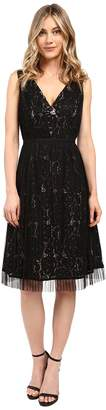 Adrianna Papell Netting Overlay Juliet Lace Fit and Flare Dress Women's Dress