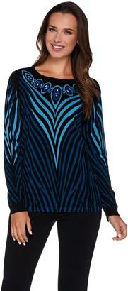 Bob Mackie Bob Mackie's Printed Sweater with Jeweled Neckline