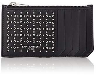 Saint Laurent Men's Studded Leather Top-Zip Card Case - Black