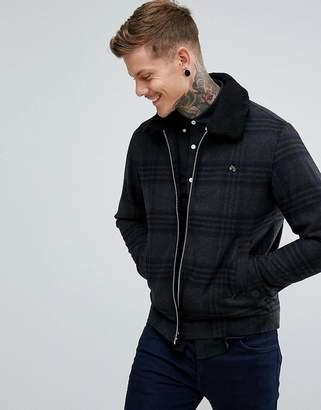 Farah Otley Fleece Collar Check Wool Jacket in Gray