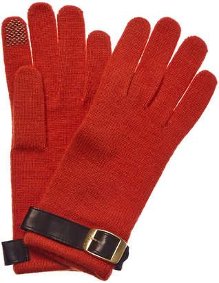 Portolano Orange & Black Leather-Trim Wool-Blend Gloves