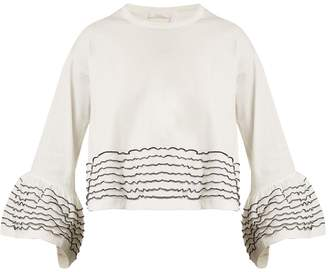 See by Chloe Bell-cuff embroidered cotton-jersey top