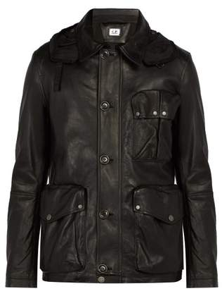 C.P. Company Goggle Lens Leather Jacket - Mens - Black