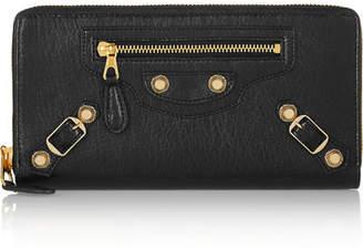 Balenciaga Giant Studded Textured-leather Wallet - Black