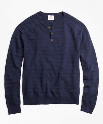 Brooks Brothers Textured-Stripe Cotton-Linen Henley Sweater