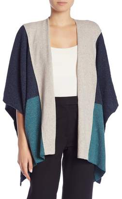 Three Dots Donegal Colorblock Print Poncho