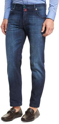 Kiton Medium Wash Denim Straight-Leg Jeans