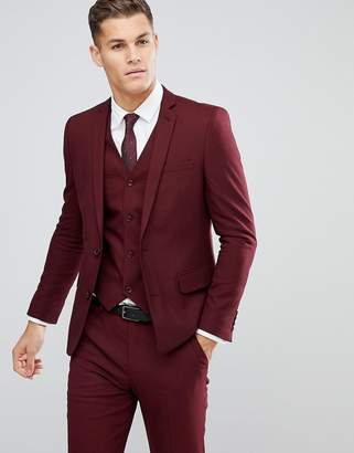 Asos Slim Suit Jacket In Burgundy