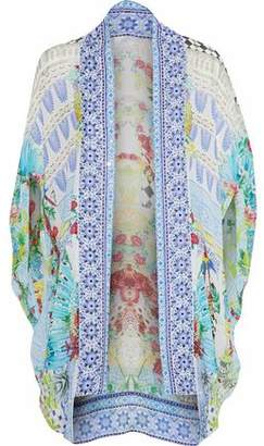 Camilla Marking Madness Crystal-Embellished Printed Silk Crepe De Chine Cape