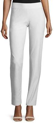 Eileen Fisher Washable Stretch Crepe Slim-Leg Pants, Bone, Petite