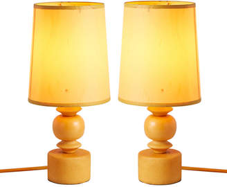 Rejuvenation Pair of Orange Alabaster Accent Lamps w/ Silk Shades