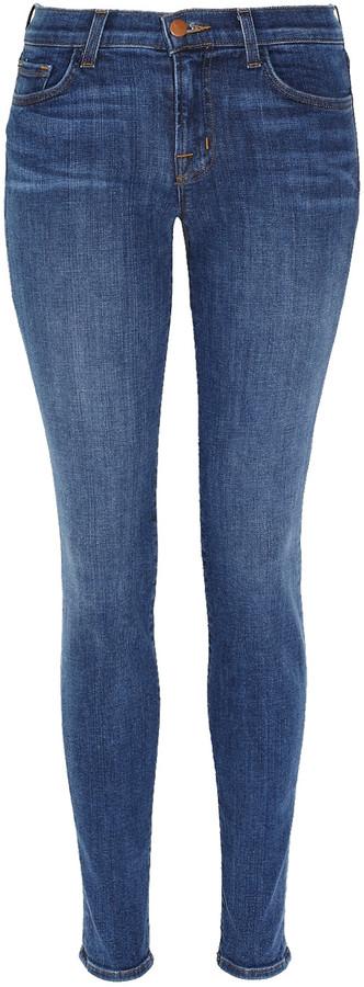 J Brand Denim 811 cropped mid-rise skinny jeans