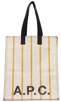 A.P.C. Cabas Striped Canvas Tote Bag - Womens - Yellow White