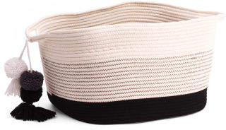 Large Striped Square Storage Basket