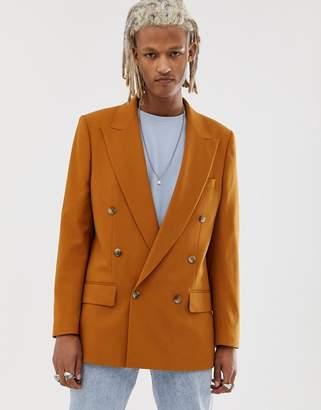Asos Design DESIGN oversized double breasted blazer in camel
