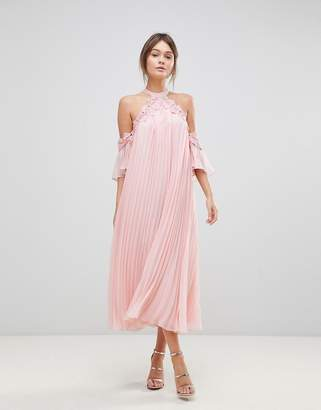 True Decadence Pleated Swing Dress With Cold Shoulder Detail