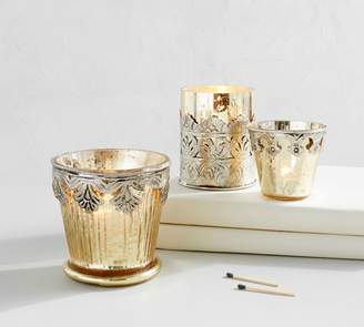 Pottery Barn Gold Madeline Mercury Glass Votive Holders - Set of 3