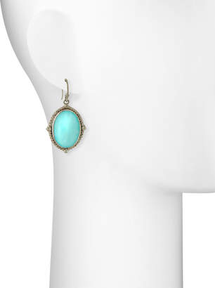 Armenta New World Oval Drop Earrings w/ Diamonds, Turquoise/Moonstone