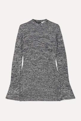 Victoria Victoria Beckham Victoria, Victoria Beckham - Cutout Melange Ribbed-knit Tunic - Navy