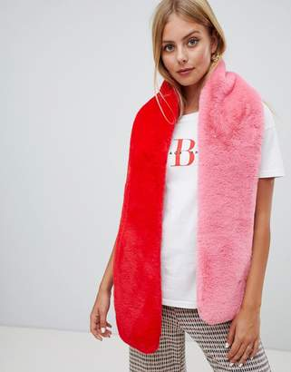 Miss Selfridge faux fur scarf in pink and red