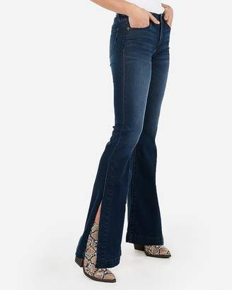 Express Mid Rise Dark Wash Split Bell Flare Jeans